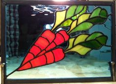 stained glass vegetable patterns | Custom Made Carrot Mini Panel