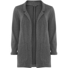 Dorothy Perkins Charcoal ponte blazer ($55) ❤ liked on Polyvore featuring outerwear, jackets, blazers, grey and dorothy perkins