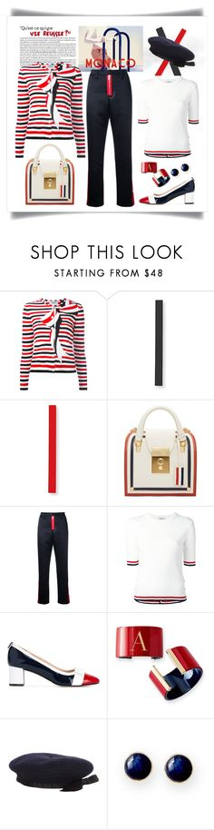 """Thom Browne Striped Bow Print Cardigan Look"" by romaboots-1 ❤ liked on Polyvore featuring Thom Browne, Brognano, Mark & Graham and Chanel"
