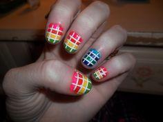 checkered nails neon