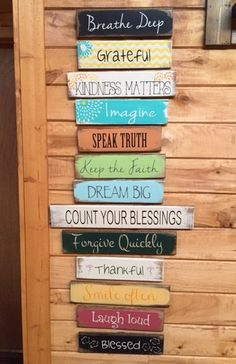 13 signs each 3 tall varying widths and less hand-painted wood signs Wood Signs Sayings, Diy Wood Signs, Painted Wood Signs, Rustic Wood Signs, Rustic Wall Decor, Rustic Walls, Sign Quotes, Hand Painted, Wood Vinyl