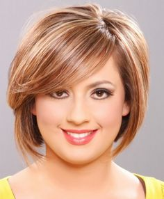 Diana here is one. Short bob, sideswept bangs.   best haircut for round faced women - Google Search