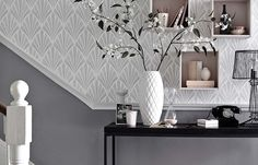 Decor Ideas For The Home Living Room Pictures Ideas - New Deko Sites Decor, Home Living Room, Room Design, Hall Wallpaper, Grey Decor, Wallpaper Living Room, Home Decor, Hallway Wallpaper, Living Room Designs