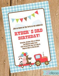 On the Farm Printable Invitation, Tractor Personalized Birthday Invite, Tractor, Farm Birthday Boy. $13.50, via Etsy.