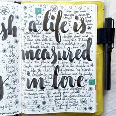 A life is measured in love 💛 #letteritnovember #journal #artjournal #hobonichi #planner #diary #notebook #filofax #mtn #midori #travelersnotebook #midoritravelersnotebook #scrapbooking #stationery...