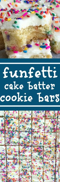 Funfetti Cake Batter Cookie Bars   Sugar Cookie Bars   Funfetti   Cake Batter   Dessert Recipes   Funfetti cake batter cookie bars are a sweet and tasty treat that only need 5 ingredients! So easy to make, loaded with colorful sprinkles, and tastes exactly like cake batter. These will be a hit with everyone   #dessertrecipes #easydessertrecipes #funfetti #cakebatterrecipes