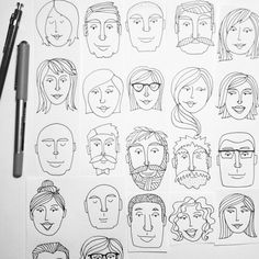 how to draw doodles Sketches Of People, Drawing People, Art Sketches, Doodle Drawings, Cute Drawings, Doodle Art, Drawing Faces, Face Illustration, People Illustration