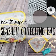 How to make a seashell collecting bag! This is a simple sewing tutorial for making a mesh bag to carry seashells in. Leave the sand at the beach and bring the treasures home! Sewing Hacks, Sewing Tutorials, Sewing Crafts, Sewing Tips, Sewing Projects For Kids, Sewing For Kids, Beach Crafts, Toy Craft, Couture