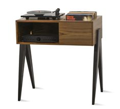 Turntable Setup, Puzzle Table, Wood Shop Projects, Record Storage, Storage Units, American Walnut, Indoor Air Quality, Vinyl Records, Vinyl Record Stand