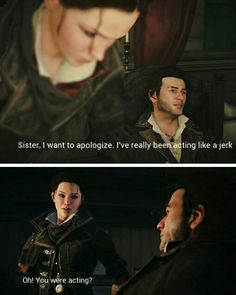 Jacob will always be my favorite assassin. spot belongs to Ezio though. Assassins Creed Quotes, Assassins Creed Jacob, Jacob And Evie Frye, Assassin's Creed Black, Edwards Kenway, Fictional World, Leap Of Faith, Storm Sounds, Funny Memes