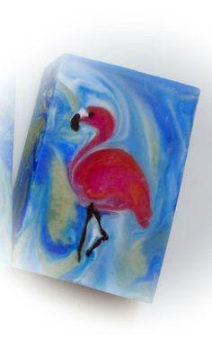 cold-process soap - Ebru technique - Flamingo
