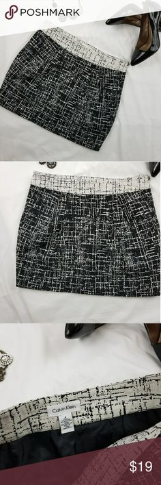 "🍓 Calvin Klein mini Skirt w. Pockets size 4 Calvin Klein mini Skirt w. Pockets size 4  Side zip  Lining skirt  Outseam 15.25""  Waist 15""  All measurements taken while lying flat seam to seam  (C10) Calvin Klein Skirts Mini"