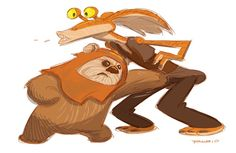 Wicket punching Jar Jar in the junk. Ewoks > Gungans; all day, every day. #StarWars