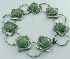 "Vintage Mexico 7 Round Prehnite Link Bracelet 8 1/2"" from Arnold Jewelers on Ruby Lane"