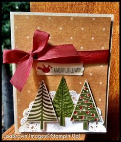 Lisa Brown: Ink and Inspirations: Stampin-up! Christmas Cards 2014 - 1 Festival of Trees -video-tutorial - 9/3/14