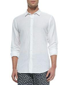 Short-Sleeve Linen Shirt, White, Women's, Size: SMALL - Theory