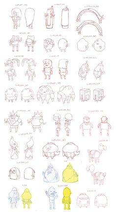 so i had to draw many different sized simpler versions of a whole lot of characters for All the Little people. here are a bunch of the sketches of them. you can see some of the finals over at frederator. -a