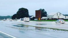 Minor flooding slows traffic on DE 1 north of Waples Pond near Milton. #trafficDE