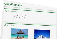 Drag'n Survey : logiciel gratuit de sondage, enquête et questionnaire en ligne. Cette image représente un exemple de questionnaire qu'il est possible de réaliser.