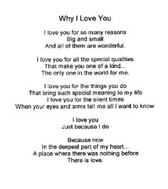 Why I Love You.... I love You for YOU! favorite-quotes Love Yourself Quotes, Love Quotes For Him, Cute Quotes, Quotes To Live By, Sweet Quotes, Nice Sayings, I Love Him, Reasons Why I Love You, Love You More