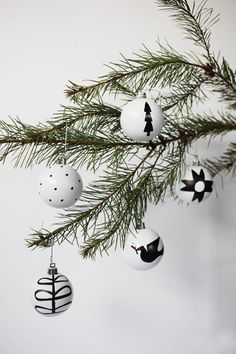 black and white nordic ornaments