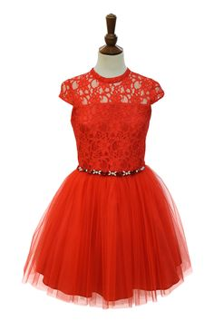 Prom Dress With Red Corded Lace | David Charles Childrens Wear