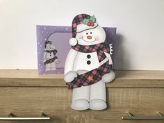 on the Shelf Card Kit - Little Christmas Snowman Mack I printed the main design on to white card stock and the envelope on to white printer paper, cut and assembled using double sided tape and double sided foam pads. Tartan Christmas, Little Christmas, Christmas Snowman, Christmas Cards, Handmade Envelopes, Bank Holiday Weekend, Printer Paper, Shelf Design