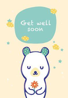 Free Printable Get Well Teddy Bear Greeting Card