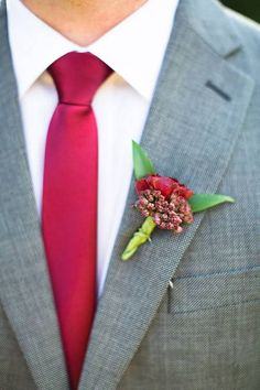 Marsala Wedding Style Ideas, Boutonniere and tie