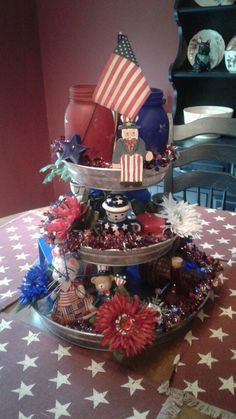 July Tiered Tray decoration ideas to glam up your home in Patriotic Spirit - Hike n Dip Fourth Of July Decor, 4th Of July Decorations, 4th Of July Party, July 4th, Birthday Decorations, Galvanized Tiered Tray, Dip, Tiered Stand, July Crafts