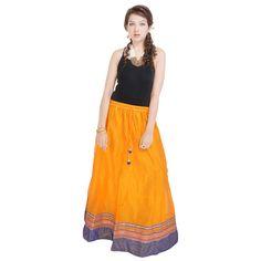 Indigocart Ethnic Yellow Pure Cotton Skirt