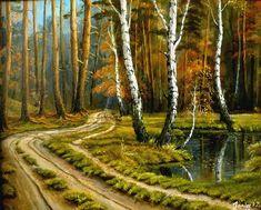 """Piękny obraz lasu namalowany farbami. """"Jesienny las"""", Zbyszek Janiak. https://variart.org/users/view/2236/szek"""