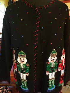 Vintage beaded Nutcracker UGLY CHRISTMAS sweater  size LARGE