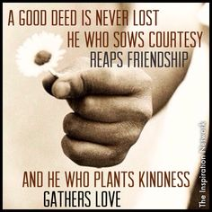 """A good deed is never lost: he who sows courtesy reaps friendship; and he who plants kindness gathers love."" ~Basil #quote"