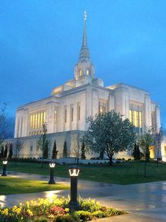 Ogden Utah LDS Temple after a spring storm.