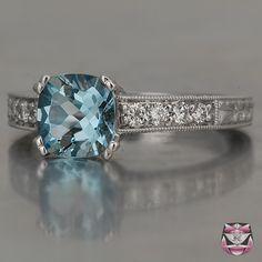 Art Deco platinum Engagement Ring Aquamarine =]