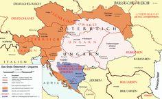 Österreich-Ungarns Ende - Karte der territorialen Aufteilung nach dem Vertrag von Trianon (rote Linien) im Vergleich zum vorigen Staatsgebiet (graue Linien und farbige Flächen) Ungarn