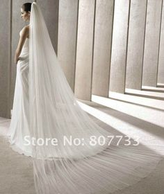 two layer long tulle bridal veil