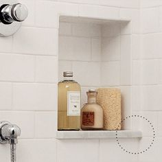 Built-in niche for shampoos and soaps. Line it with a solid surface (not tile) to avoid soap scum build up in the grout lines. Niches are a great way to keep a small bathroom looking tidy. Upstairs Bathrooms, Laundry In Bathroom, Bathroom Renos, Small Bathroom, Master Bathroom, Relaxing Bathroom, Design Bathroom, Washroom, Bad Inspiration