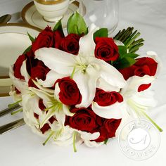 Fresh Red and White Wedding Flowers Package (10-piece) | Weddings Flowers real flowers bridal bouquet red roses only $299.99 shop wedding flowers and wedding decorations www.afloral.com