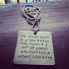 Hand Stamped Aluminum Square with Quote From Miranda Lambert Song Heart Like Mine on Etsy, $32.00
