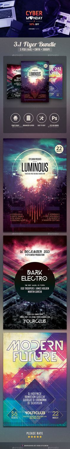 Party Flyer Template Bundle. Cyber Monday 2016 - 50% OFF #cybermonday #design #graphics