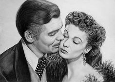 Clark Gable and Vivien Leigh as Rhett Butler and Scarlet O'Hara in Gone with the Wind. #art