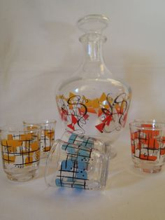 Glass Carafe and Shots Glasses  Mid Century by Dupasseaupresent