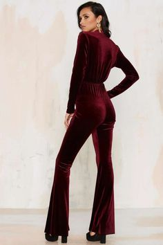Bell It Like It Is Velvet Jumpsuit - Red - Clothes | Rompers + Jumpsuits | Party Shop