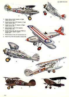 1931-1949 Hawker Fury. Fighter. RAF, SAAF, SAF, RYAF. Engine: 1 x Rolls-Royce Kestrel IV V12 engine (640 hp) Armament: 2 x .303 Vickers Mk IV machine guns. Max speed: 223 mph (360 km/h)