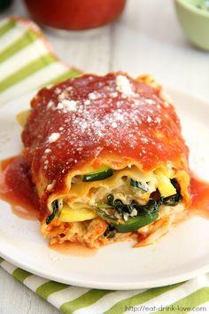 Creamy Vegetable Lasagna Rolls by eatdrinklove #Lasgana_Rolls #Veggie