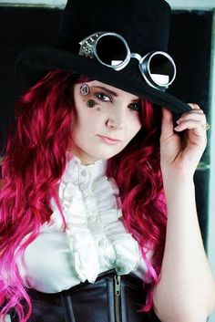 Burgundy hair #steampunk #corset #goggles #TopHat Steampunk Corset, Steampunk Fashion, Steampunk Hairstyles, 100 Human Hair Extensions, Burgundy Hair, Wigs, Dreadlocks, Stylists, Collection
