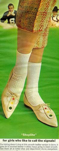 Stoplite    From Seventeen, March 1963. By Cool Notes./Think these would look a lot cooler without the socks:-)