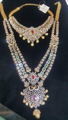 Diamond Choker Necklace, Indian Wedding Jewelry, Gold Fashion, Necklace Designs, Fashion Necklace, Blouse Designs, Jewlery, Emerald, Layers